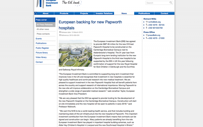 European backing for new Papworth hospitals