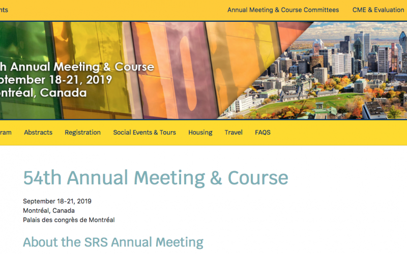18-21 September 2019, SRS 54th Annual Meeting & Course; Canada
