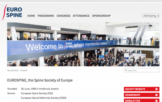 2-3 May 2019, EUROSPINE Spring Speciality Meeting; Frankfurt, Germany