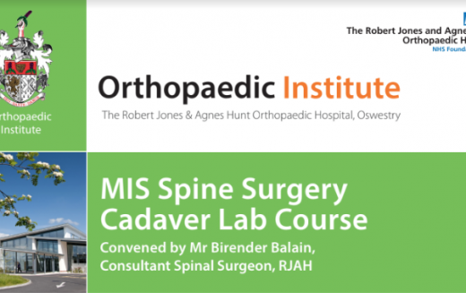 17-18 May 2019, MIS Spine surgery cadaver lab course; Oswestry