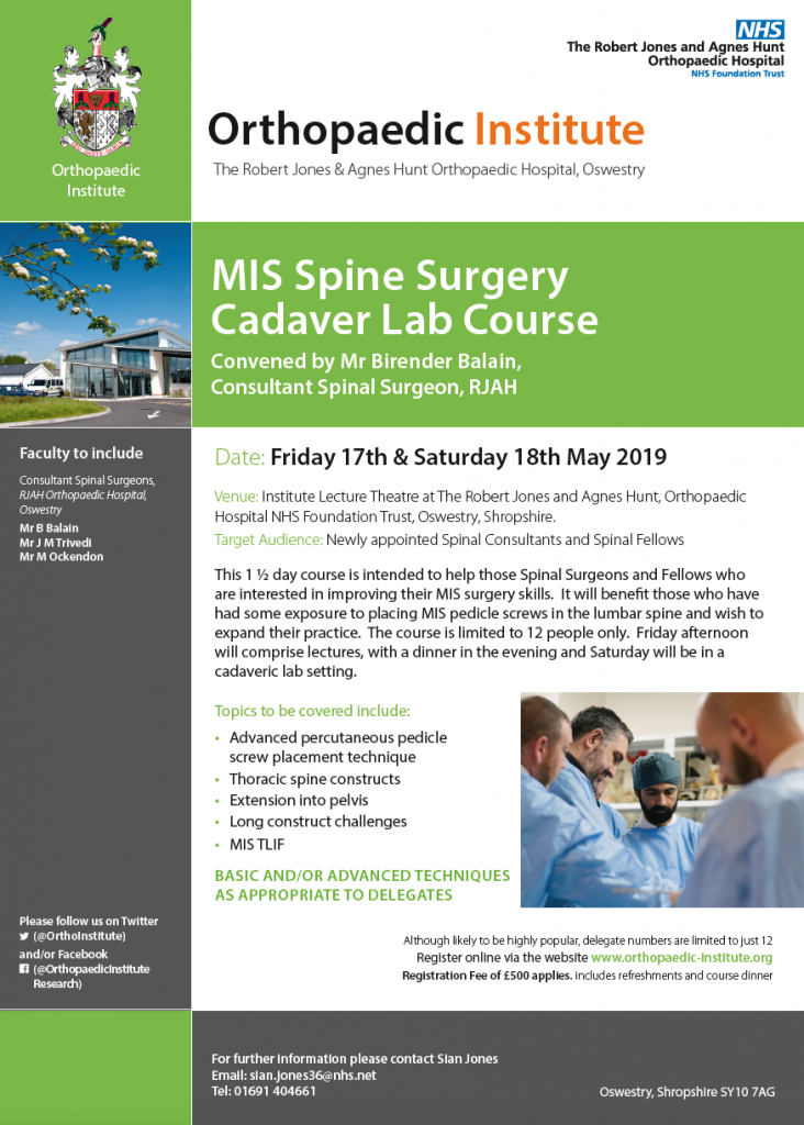 17-18 May 2019, MIS Spine surgery cadaver lab course