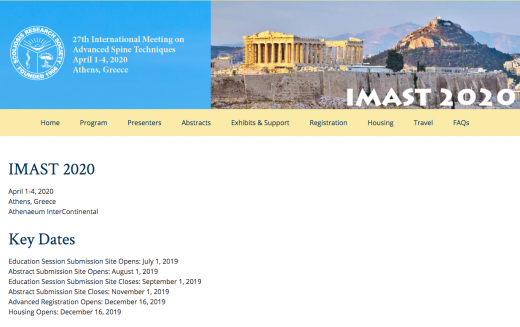 1-4 April 2020, 27th International Meeting on Advance d Spine Techniques (IMAST); Athens
