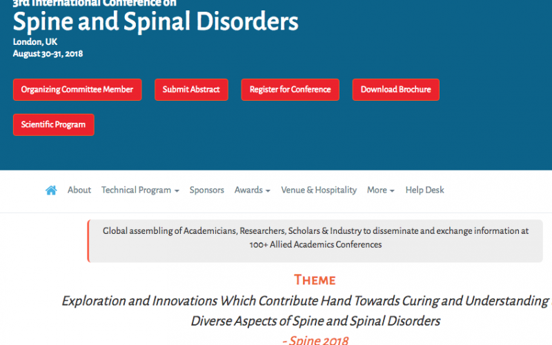 30-31 August 2018, 3rd International Conference on Spine and Spinal Disorders; London