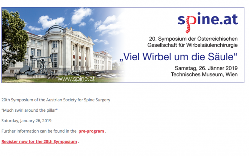 26 January 2019, 20th Symposium of the Austrian Society for Spine Surgery; Wien