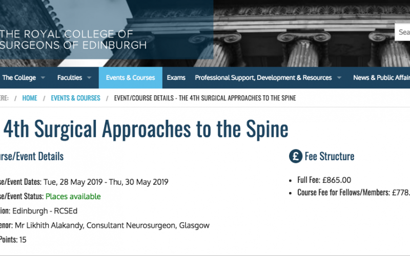 28-30 May 2019, The 4th Surgical Approaches to the Spine; Edinburgh