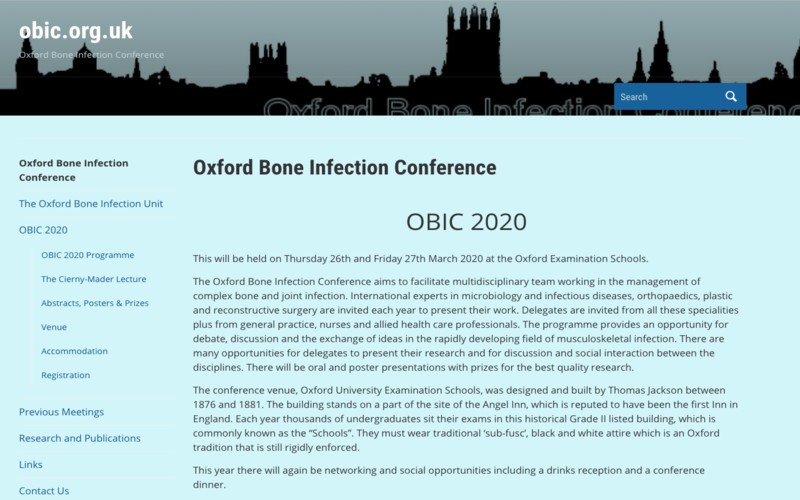 26-27 March 2020, Oxford Bone Infection Conference; Oxford – POSTPONED