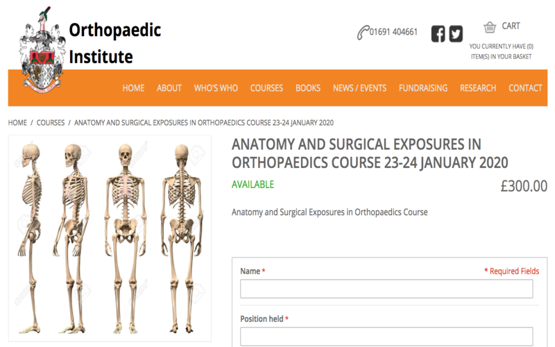 23-24 January 2020, Anatomy and surgical exposure in orthopaedics course; Oswestry