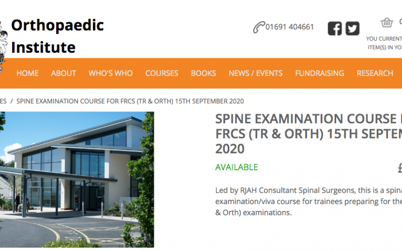 15 September 2020, Spine Examination Course for FRCS (TR & Orth); Oswestry