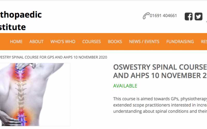 10 November, Oswestry Spinal Course for GPs and AHPs; Oswestry