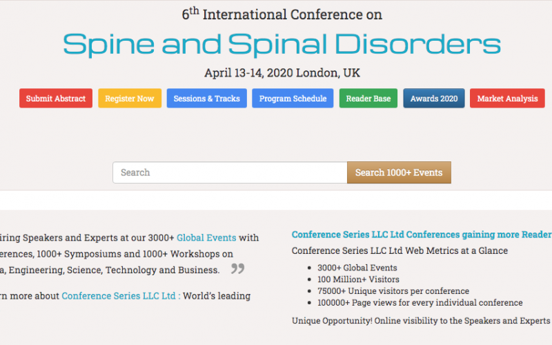 13-14 April 2020, 6th International Conference on  Spine and Spinal Disorders; London