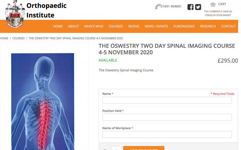 4-5 November 2020, The Oswestry Two-day Spinal Imaging Course; Oswestry