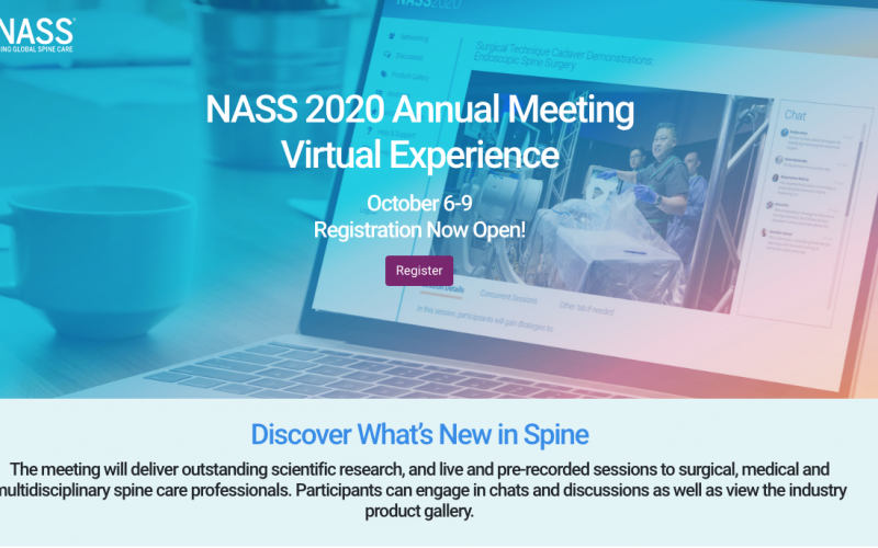 6-9 October 2020, NASS 2020 Annual Meeting; Virtual experience